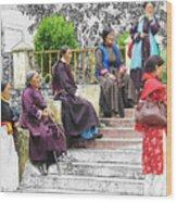 Tibetan Women Waiting Wood Print