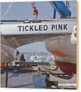 Tickled Pink In Mylor Cornwall Wood Print
