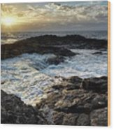 Tidal Pool Sunset Wood Print