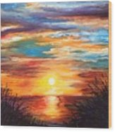Tide Marsh Sunset Wood Print