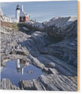 Tide Pool Reflection Pemaquid Point Lighthouse Maine Wood Print