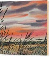 Tideland Sunset Wood Print