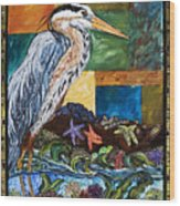 Tidepool Heron Wood Print
