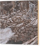 Tie Hack Historical Vignette From River Mural Wood Print