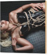 Tied Blonde Lying On Floor - Fine Art Of Bondage Wood Print