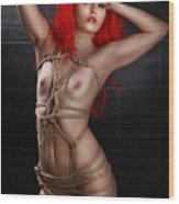 Tied Girl, Rope Harness - Fine Art Of Bondage Wood Print by Rod Meier