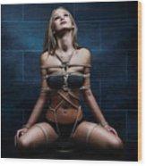 Tied In Rope Harness - Fine Art Of Bondag Wood Print by Rod Meier