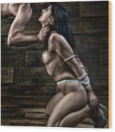 Tied Nude Submission And Domination - Fine Art Of Bondage Wood Print by Rod Meier