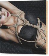 Tied Up Girl, Rope Portrait - Fine Art Of Bondage Wood Print