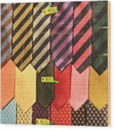 Ties In Shop Window In Venice Wood Print