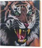 Tigar Snarl Wood Print