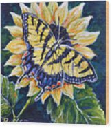 Tiger And Sunflower Wood Print