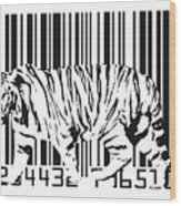Tiger Barcode Wood Print by Michael Tompsett