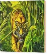 Tiger In The Forest Wood Print