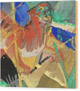 Tiger In The Jungle By Franz Marc Red And Yellow Tiger On The Prowl Wood Print