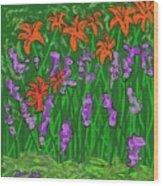 Tiger Lilies And Purple Hostas Wood Print