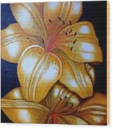 Tiger Lily Times Two Wood Print