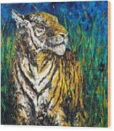 Tiger Night Hunt Wood Print