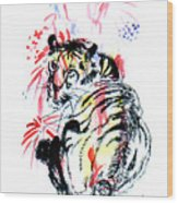 Tiger Siesta Wood Print