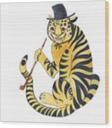 Tiger With Pipe Wood Print