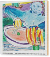 Tiger Woman Dining On Peas While Traveling The Water Wood Print