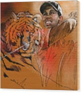Tiger Woods Or Earn Your Stripes Wood Print