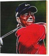Tiger Woods Wood Print by Paul Ward