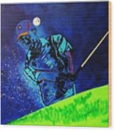 Tiger Woods-playing In The Sandbox Wood Print by Bill Manson