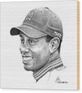 Tiger Woods Smile Wood Print