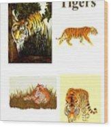Tigers Montage Wood Print