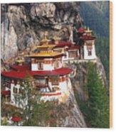 Tigers Nest Bhutan Wood Print