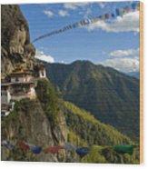 Tiger's Nest Prayer Flags Bhutan Wood Print
