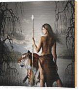 Tigress Warrior Of The Moon Wood Print by Julie L Hoddinott