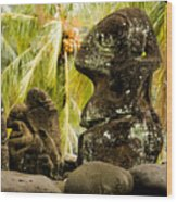 Tiki Carvings In Hatiheu Village, Nuku Wood Print