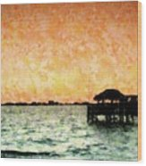 Tiki Sunset Wood Print