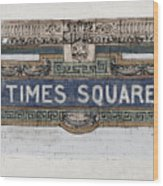 Tile Mosaic Sign, Times Square Subway New York, Handmade Sketch Wood Print