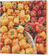 Tile Peppers Wood Print