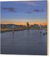 Tilikum Crossing Aesthetic Lights At Twilight Wood Print