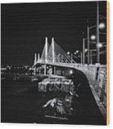 Tilikum Crossing Cutting Through The Night Wood Print
