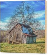 Tilted Log Cabin Wood Print