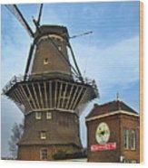 Tilting At Windmills In Amsterdam Wood Print