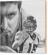 Tim Tebow Wood Print by Bobby Shaw