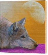 Timber Wolf Under The Moon Wood Print by Tina B Hamilton