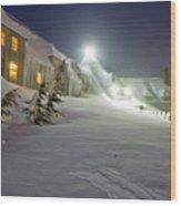 Timberline Lodge Mt Hood Snow Drifts At Night Wood Print by Dustin K Ryan