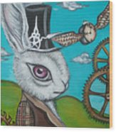Time Flies For The White Rabbit Wood Print by Jaz Higgins