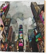 Time Square Mixed Media Wood Print