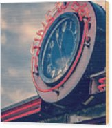 Time To Eat Neon Diner Clock Wood Print