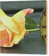 Time To Give A Rose - Yellow And Pink Rose - Clock Face Wood Print