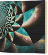 Time Travel Galaxy Portal To The Stars - Teal Green Wood Print