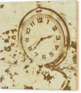 Time Worn Vintage Pocket Watch Wood Print